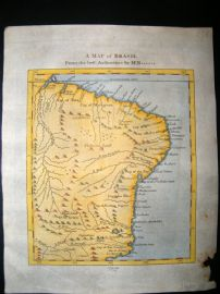 John Cary C1778 Antique Hand Col Map. Brazil
